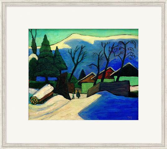"""Gabriele Münter: Bild """"Drei Häuser im Schnee"""" (1933), gerahmt"""