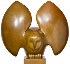 "Sculpture ""Landing Owl Nr. 4"", Brown Bronze"