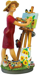 Caricature 'Painter', hand-painted art casting