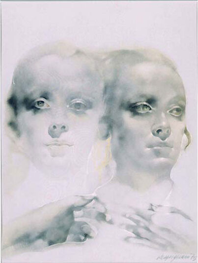 "Renzo Vespignani: Painting ""I Gemelli"", Unframed"