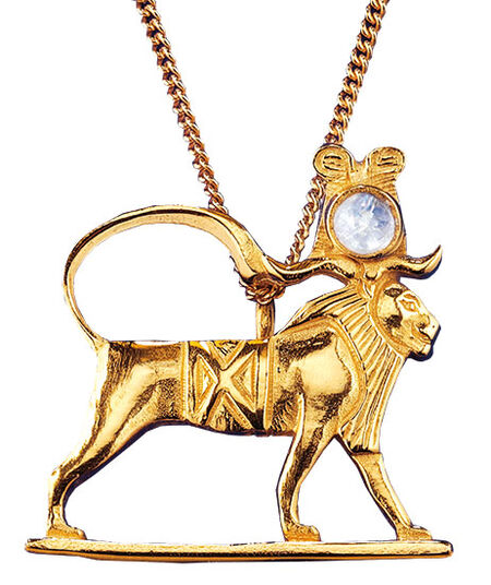 """Ancient Egyptian zodiac sign of """"Leo"""" (23.7.-23.8.) Necklace with a lucky stone,"""