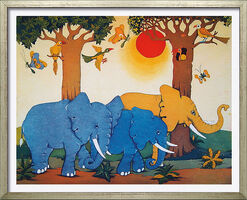 "Bild ""Elefantenzug"", gerahmt"