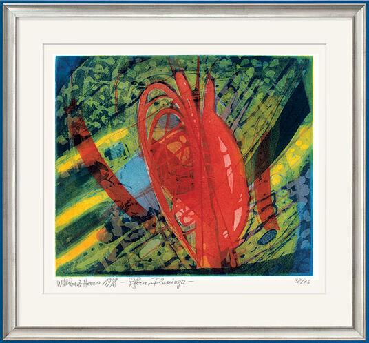 """Willibrord Haas: Bild """"Pfau und Flamingo"""" (1998), gerahmt"""