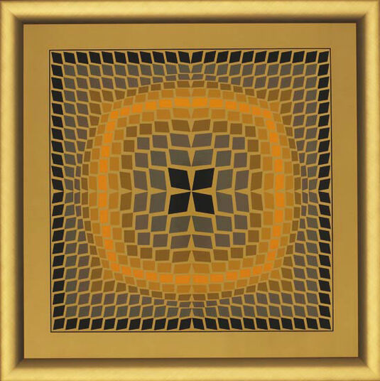 Victor Vasarely: Painting 'QUASAR-2', framed