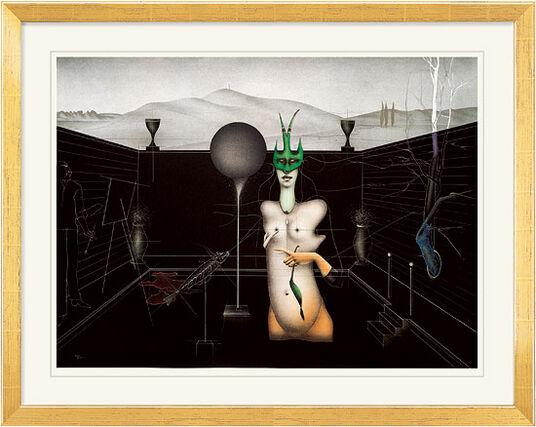 """Paul Wunderlich: Bild """"Maler und Modell"""" - aus Grafikfolge """"Französische Gärten I"""", gerahmt"""