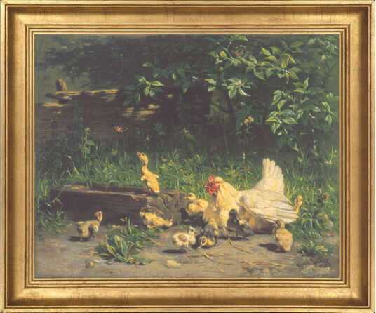 "Carl Jutz: Picture ""hen with chicks and ducklings"""