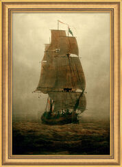 """Picture """"Sailboat in the Fog"""" (1815) in museum frame"""