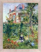"Picture ""Marguerite in the garden of Bellevue"" (1880) framed"