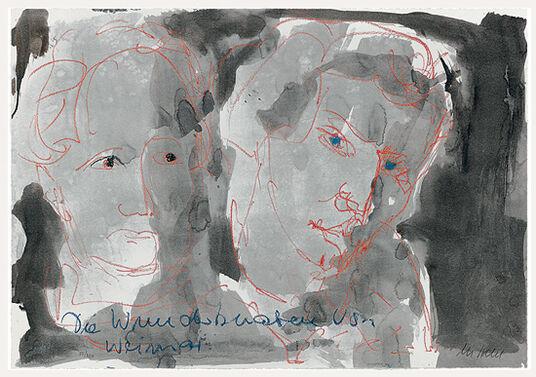 """Armin Mueller-Stahl: Bild """"Die Wunderknaben von Weimar - Johann Wolfgang von Goethe und Friedrich Schiller"""" (2009), ungerahmt"""