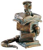 """Skulptur """"Der Bücherwurm"""", Bronze"""