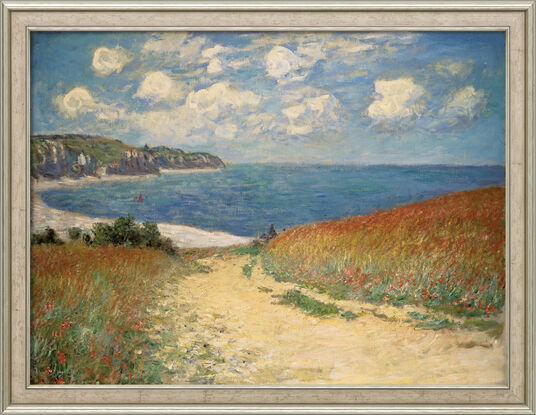"Claude Monet: Painting ""Path through Wheat Fields to Pourville"" (1882), Framed"