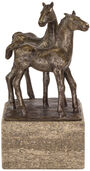 Sculpture 'Horse Couple', artificial bronze