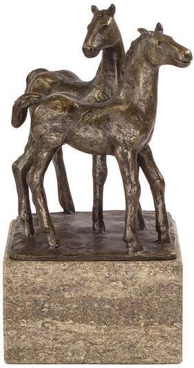 """Johann Baptist Lenz: Skulptur """"Pferdepaar"""", Steinguss bronziert"""