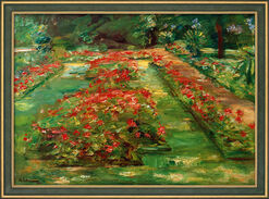 "Painting ""The Nothern View at The Blooming Terrace in The Garden at Wannsee"" (1928), Framed"