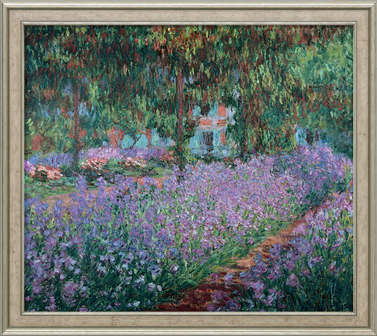 "Claude Monet: Bild ""Irisbeet in Monets Garten"" (1900), gerahmt"
