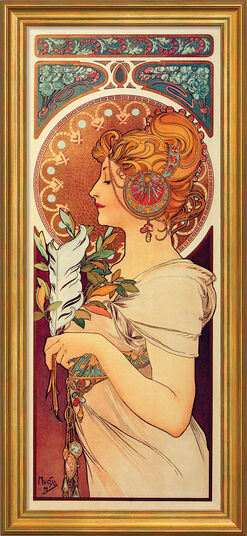 """Alphonse Mucha: Painting """"La Plume"""" (1899) in a frame"""