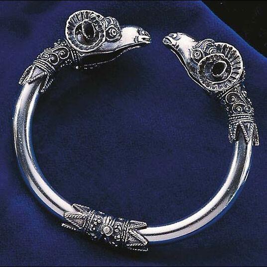 Attic ram's head bangle, silver