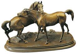 """Pierre Jules Mêne: Pferdeskulptur """"Die Umarmung"""", Kunstbronze"""