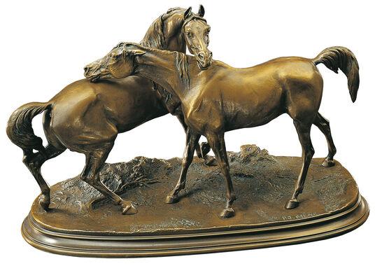 """Pierre Jules Mêne: Pierre Jules Mêne: Pferdeskulptur """"Die Umarmung"""", Kunstbronze"""