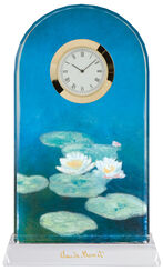 "Table Clock ""Water Lilies in the Evening"" with Gold Deco"