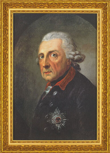 "Anton Graff: Painting ""Frederik the Great, King of Prussia"" (1781) in a frame"
