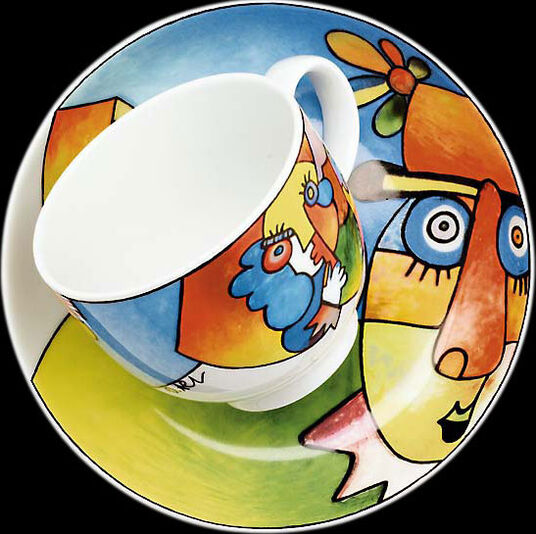 "Otmar Alt: Coffee cup and saucer ""Charly"", porcelain"