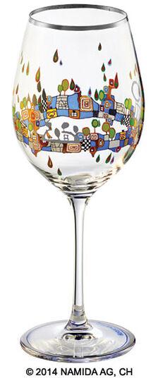 "Friedensreich Hundertwasser: (PM XIX/5) Weinglas ""BEAUTY IS A PANACEA - Platin - Weißwein"""