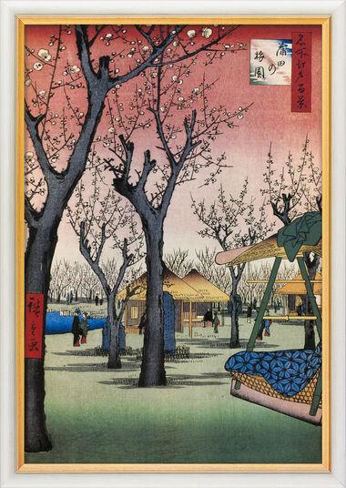 "Ando Hiroshige: Bild ""Der Pflaumengarten bei Kamata"" (1856-1858), gerahmt"