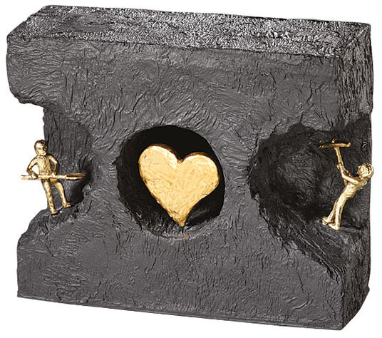 "Kerstin Stark: Sculpture ""Finding each other"", bronze with cast stone"