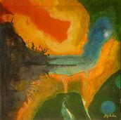 "Bild ""Fluss und Lava"" (2011) (Original / Unikat), ungerahmt"