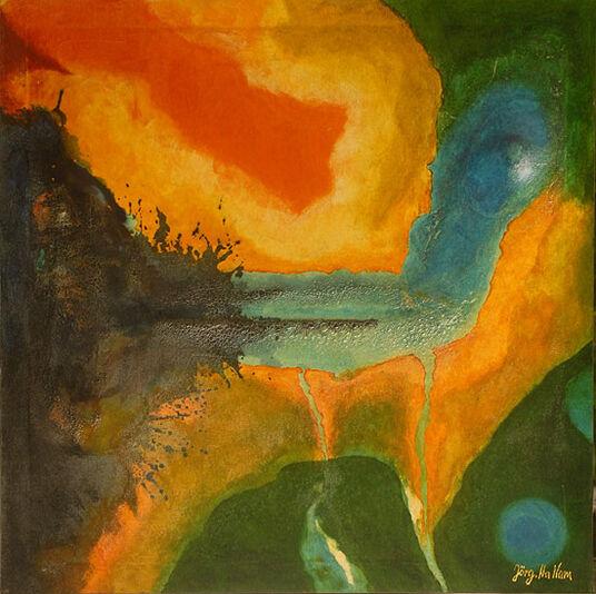 "Hans-Jörg Hamann: Bild ""Fluss und Lava"" (2011) (Original / Unikat), ungerahmt"