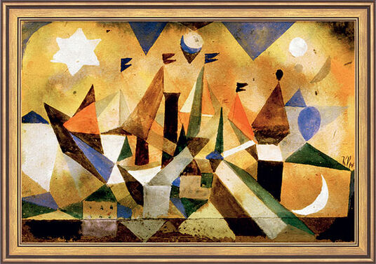 "Paul Klee: Painting ""Sailing ships waiting for the storm"" (1917) in museum framing"
