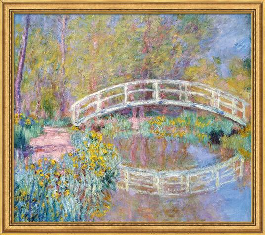 """Claude Monet: Bild """"Brücke in Monets Garten"""" (1900), Version goldfarben gerahmt"""