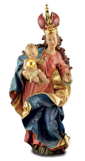 Sculpture 'Baroque Madonna', art casting hand-painted