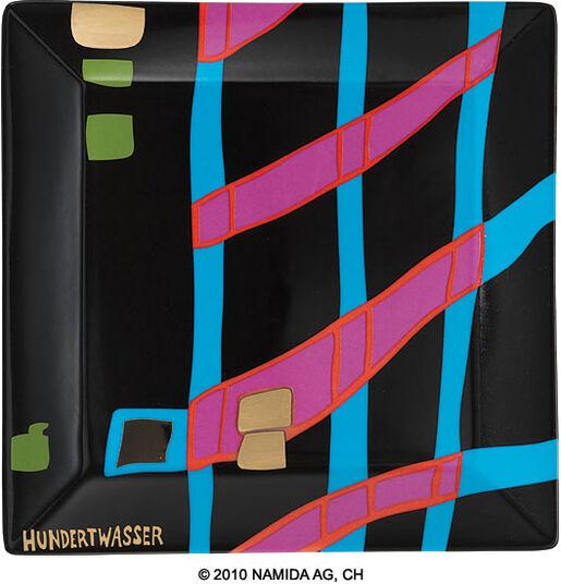 """Friedensreich Hundertwasser: Gabenschale """"Detail of Infinity"""" (19 x 19 cm, schwarz)"""