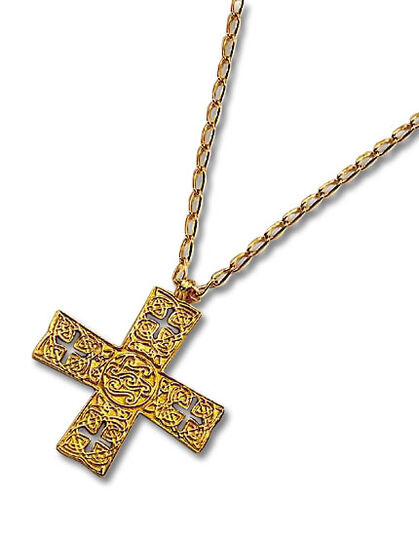"Cross ""Arts & Crafts"", gold-plated"