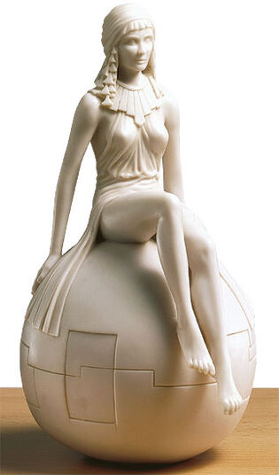 """Alfred Haberl: Sculpture """"Girl on Ball"""", artificial marble"""