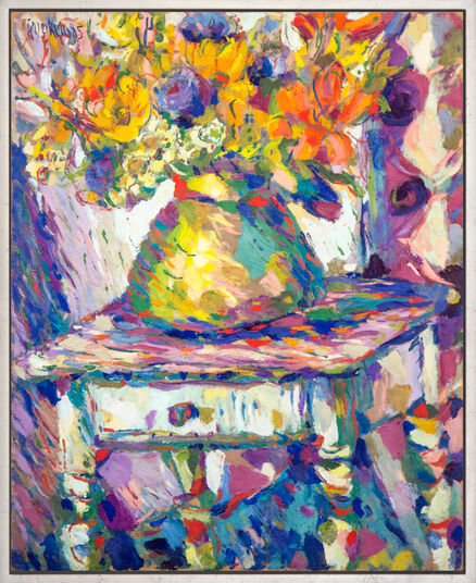 "Theodor Gerkens: Bild ""Blumen im Messingkessel"" (1985) (Unikat)"