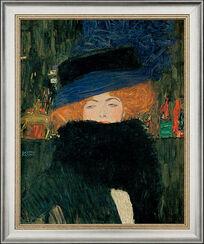 """Bild """"Bildnis einer Frau mit Hut und Federboa"""" (1909), gerahmt"""