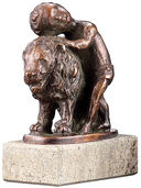 "Zodiac sculpture ""Leo"", metal casting"