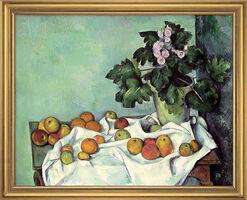 """Bild """"Stillleben mit Äpfeln und Primeln"""" (frühe 1890er), gerahmt"""