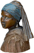 "Desk sculpture ""The Girl with Pearl Earring"", polymer cast"
