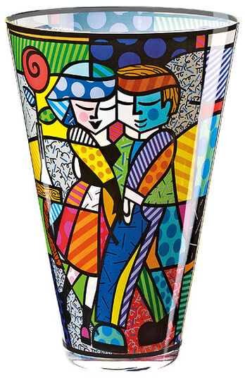 "Romero Britto: Glasvase ""Cheek to Cheek"""