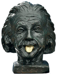 """Einstein head with golden tongue"""