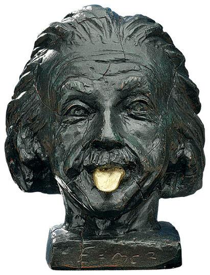 Einstein-head with golden tongue by J. Nemecek