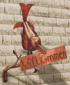 "Skulptur ""Willkommens-Rabe"", Kupfer"