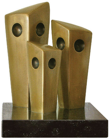 "Johann Baptist Lenz: Sculpture ""Owl Family"" bronze edition"