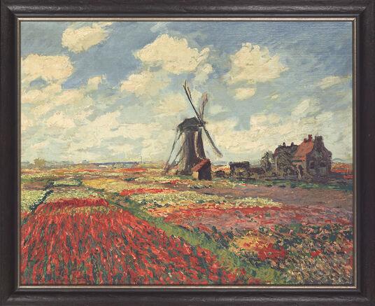 "Claude Monet: Bild ""Tulpenfeld in Holland"" (1872), gerahmt"