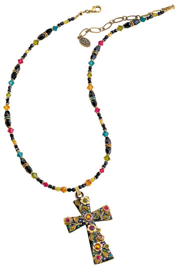 "Michal Golan: Necklace ""Multi Flower Crystal Cross"""