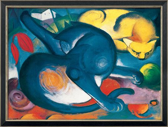 """Franz Marc: Bild """"Zwei Katzen, blau und gelb"""" (1912), gerahmt"""